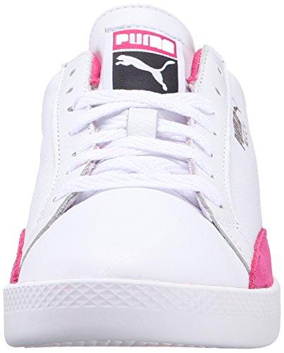 PUMA Women's Match LO Basic Sports Wn's Tennis Shoe, Puma White/Fuchsia Patent, 8.5 M US