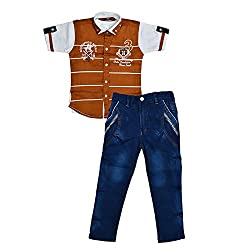 Colors Kids Shirt T-Shirt And Pant Combo Pack For Boys(1 - 2 Years)