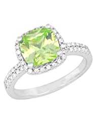 Pure 925 Sterling Silver Simulated Diamonds And Peridot Colour Solitaire Ring For Her