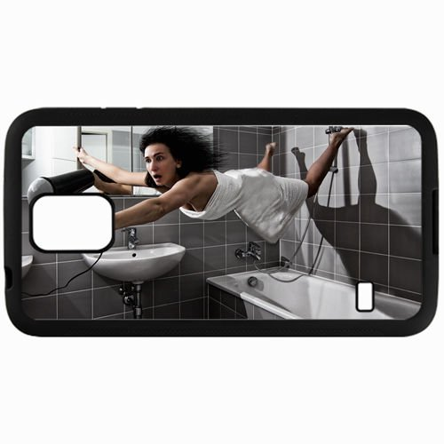Personalized Samsung S5 Cell phone Case/Cover Skin Bathroom Hair Dryer Fly Towels Black