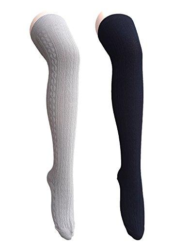 Zando Premium cotone maglia Crochet coscia alta sopra ginocchio calza calze per donna 2 paia 3