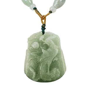 Natural Grade A Jadeite Jade Hand Carved Phoenix Pendant Necklace