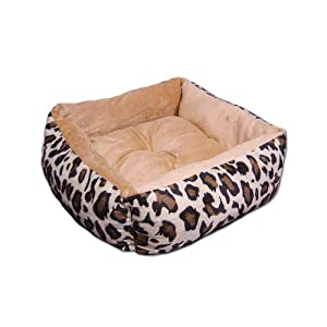 Amazon.com : Anima Beige Ultra Plush Leopard Print Bed with Removable Pillow, 16 by 16 by 5.5 ...