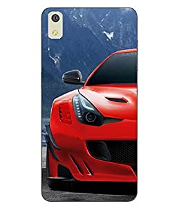 Case Cover Car Printed Red Soft Back Cover For LYF WATER 8