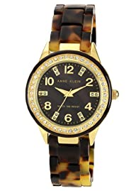 Anne Klein Women's 10/9956BMTO Swarovski Crystal Accented Gold-Tone Tortoise Resin Watch