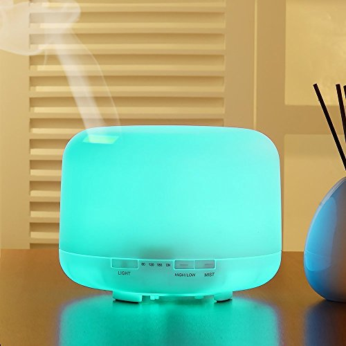 Leofan 500ml Ultrasonic 500ml Aromatherapy Essential Oil Diffuser Humidifier with 4 Timer Settings 7 LED Color Changing Lamps
