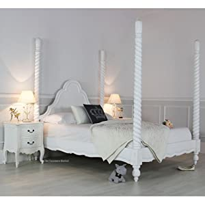 French Chateau White Double 4ft6in Carved Four Poster