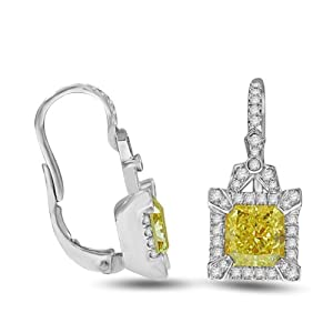 3.65 Ct Fancy Yellow Diamond Earrings in 18k White Gold - GIA