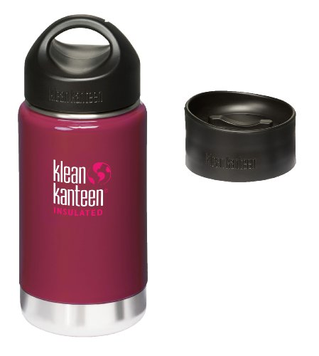 Klean Kanteen Coffee Set Wide Mouth Insulated Bottle W/ 2 Caps (Stainless Loop Cap And Cafe Cap) - Wild Raspberry 12 Oz front-887668