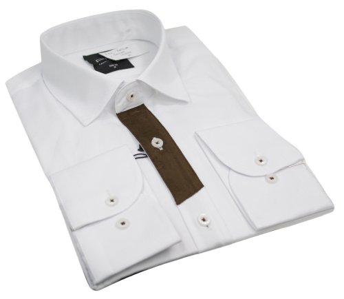 Mens Italian Style Shirt Patch Sleeve White Brown Very Slim Fit Smart or Casual