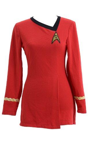 [Star Trek Costume Cotton Female Duty Uniform Red,Women-L] (Red Star Trek Dress)