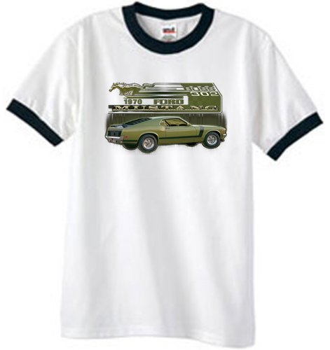Ford Car 1970 Mustang Boss 302 Classic Adult Ringer T-Shirt Tee - White/Black, Large