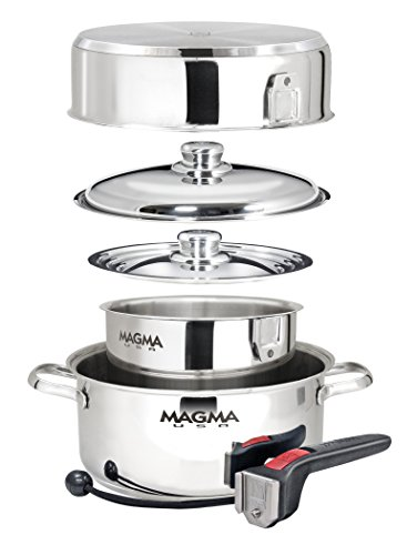 Magma 7 Piece Induction Cook-Top Gourmet Nesting Stainless Steel Cookware Set (Induction Cooktop Triple compare prices)