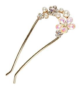 niceeshop(TM) Mignonne Fleurs Epingle à Cheveux/Pince à Cheveux/Barrette à Cheveux en Forme de U avec Strass et Perles, Blanche, Or et Pétales Multicolore