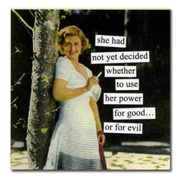 Anne Taintor Paper Beverage Napkins RETRO Witty Fun – SHE HAD NOT YET DECIDED WHETHER TO USE HER POWER FOR GOOD…OR EVIL