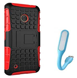Chevron Hybrid Military Grade Dual Armor Kick Stand Back Cover Case for Nokia Lumia 630 With Mini USB LED Light Lamp (Red)