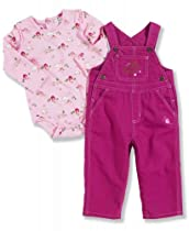 Carhartt Baby-girls Infant Washed Canvas Bib Overall Set House, Pink, 24 Months