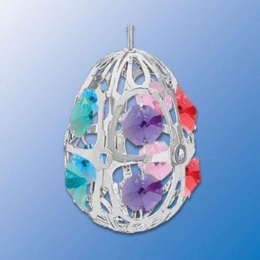 Multicolor Swarovski Crystal & Silver Easter Egg or Christmas Ornament Suncatcher