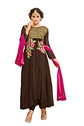 YOUR CHOICE Georgette Brown Embroideried Women's Anarkali HTS1002