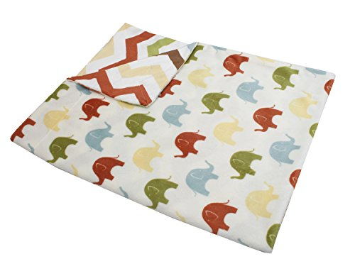 Thro by Marlo Lorenz Elmer Elephant Micro Plush Baby Blanket, 30 by 40-Inch, Safari Multi