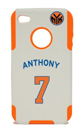 PLASTIC and SILICONE ORANGE CASE IPHONE 4 4S CARMELO ANTHONY KNICKS COVER