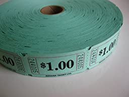 2000 Green $1 Single Roll Consecutively Numbered Raffle Tickets