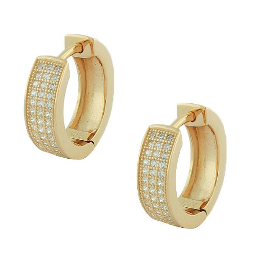 Sterling Silver Rose Yellow Gold Plated White Crystals Cz Womens Hoop Huggie Earrings (Yellow Gold Plated)