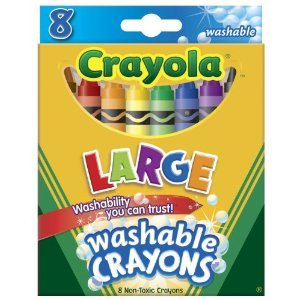 Crayola Washable Crayons, Large, 8 Colors - 2 Packs - 1
