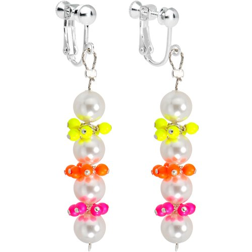 Neon Clusters Faux Pearl Dangle Clip Earrings MADE WITH SWAROVSKI ELEMENTS