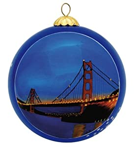 San Francisco Christmas Ornament - Golden Gate Bridge By Night