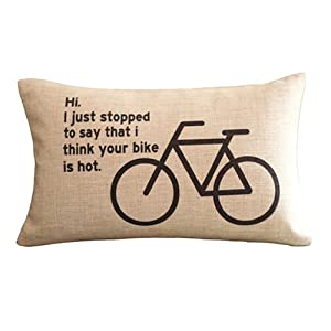 Decorative Throw Pillows With Words : Amazon.com - Stick Bicycle and Words Print Decorative Pillows 30CMx45CM Rectangular Throw ...