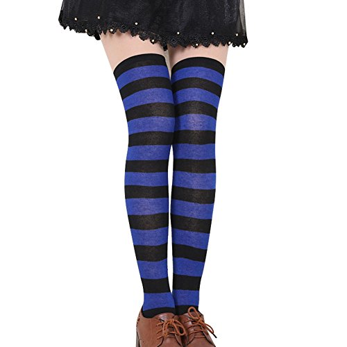 FUNOC Womens Girls Thigh High Striped Cotton Socks Over Knee Stockings (Blue Black) (Black And Yellow Striped Nylon Stockings)