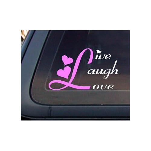 Live Laugh Love Car Decal / Sticker   White & Light Pink