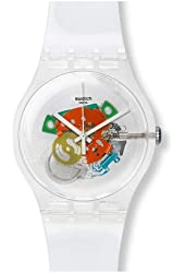 Swatch SUOK111 random ghost white dial white plastic strap unisex watch NEW
