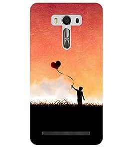 Chiraiyaa Designer Printed Premium Back Cover Case for Asus Zenfone Selfie (boy girl friend valentine miss kiss heart baloon sky nature) (Multicolor)