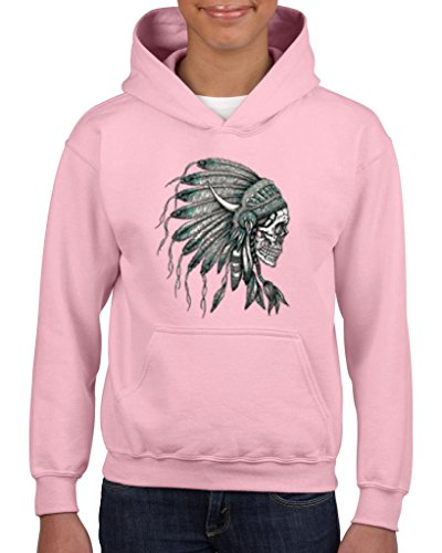 [Xekia New Skull Indian Headdress Hoodie For Girls and Boys Youth Kids Small Light Pink] (Indian Wolf Headdress Costume)