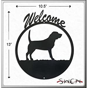 BEAGLE Black Metal Welcome Sign