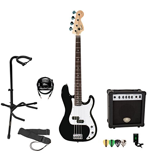 Fender Squier 3 Tone Black P Bass Kit with Strap, Stand, Cable, Tuner Pick Sampler and 15-Watt Amplifier (Fender Starter Pack compare prices)