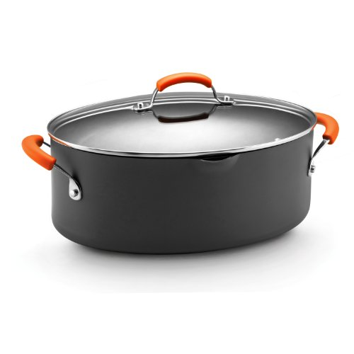 Rachael Ray Hard Anodized Nonstick 8-Quart Oval Pasta Pot with Glass Lid, Orange