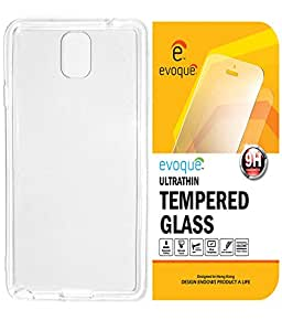 Evoque High Quality Ultra Thin Transparent Silicon Back Cover For Samsung Galaxy Note 3 N9000 With Tempered Glass