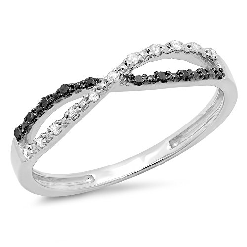 010-Carat-ctw-Sterling-Silver-White-Black-Diamond-Infinity-Swirl-Wedding-Anniversary-Band-110-CT