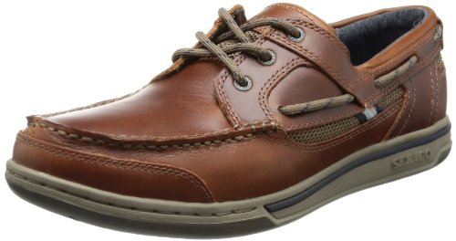 Sebago Triton Three Eye - Scarpe da Barca Uomo, Marrone (Brown Oiled Waxy Lea), 41 EU