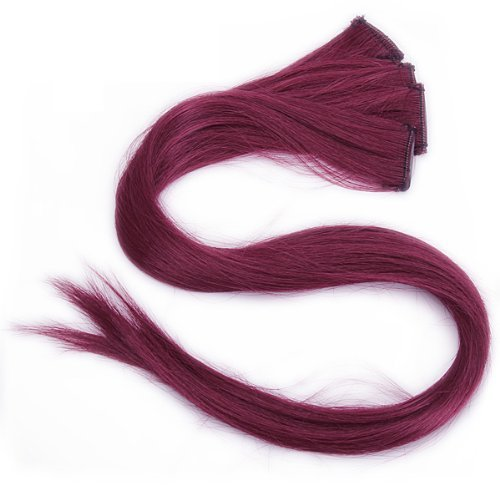 Burgundy Clip in Human Hair Extensions Straight Burgundy Clip on Highlights 5 Pieces/set 18 Inch Color Burgundy (Burgundy Clip In Hair Extensions compare prices)
