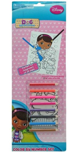 Doc McStuffins Color By Number Set with 8 Colored Pencils