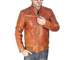 Lathero Men's Leather Jacket (SAJ-20D_Brown_XLarge)