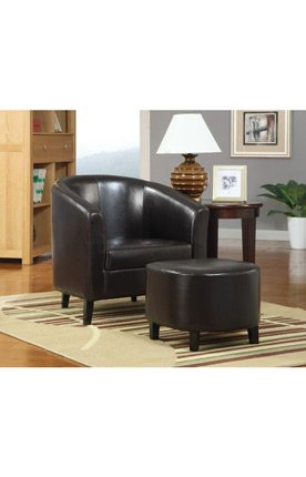Brilliant Coaster 900240 Vinyl Accent Chair With Ottoman Dark Brown Ncnpc Chair Design For Home Ncnpcorg