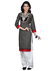 Sareeshut Black Color Cotton Fabric Readymade Printed Kurti - B00QRWJ1Z0