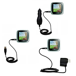 USB cable with Car and Wall Charger Deluxe Kit for the Philips GoGear SA2925/37 Spark - uses Gomadic TipExchange Technology
