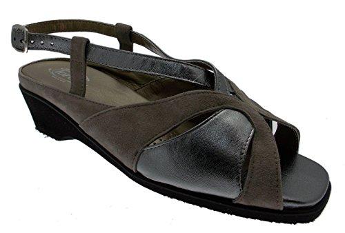 sandalo art L8033 taupe grigio metal extra large 41 grigio
