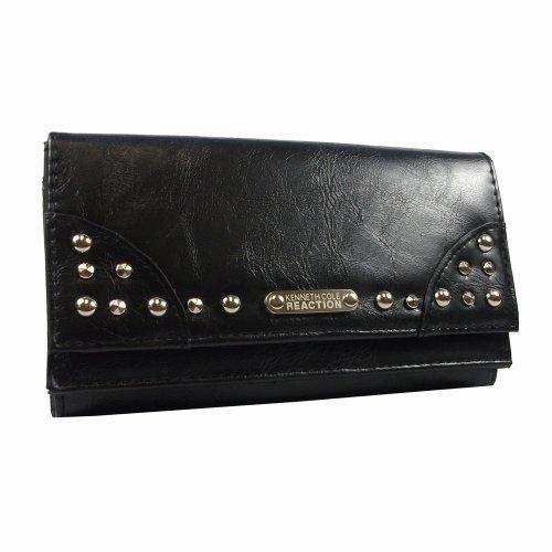 Kenneth cole reaction double flap womens clutch wallet (kc-181507-black), bags central